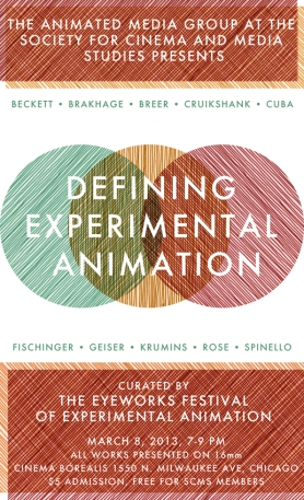 "The poster for the ""Defining Experimental Animation"" screening, designed by Chicago artist and curator Lilli Carré."